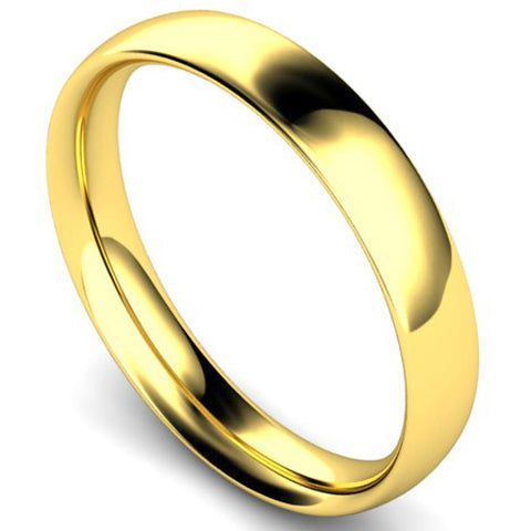 Traditional court profile wedding ring in yellow gold, 4mm width