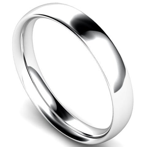 Traditional court profile wedding ring in platinum, 4mm width