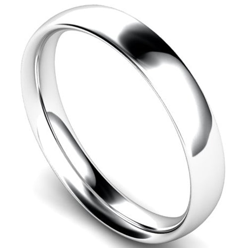 Traditional court profile wedding ring in white gold, 4mm width