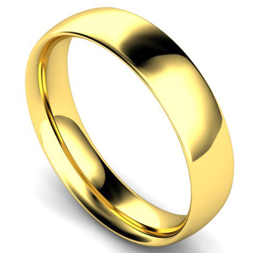 Traditional court profile wedding ring in yellow gold, 5mm width