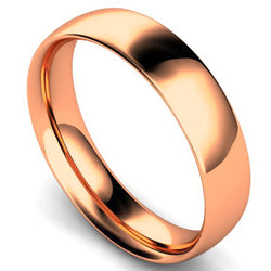 Traditional court profile wedding ring in rose gold, 5mm width