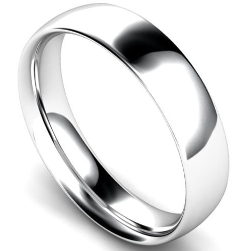 Traditional court profile wedding ring in white gold, 5mm width