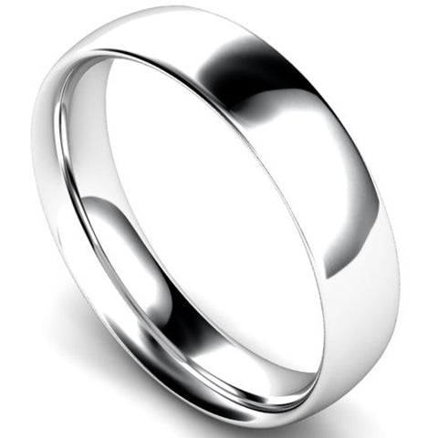 Traditional court profile wedding ring in palladium, 5mm width