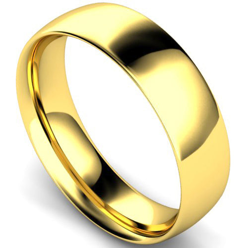 Traditional court profile wedding ring in yellow gold, 6mm width