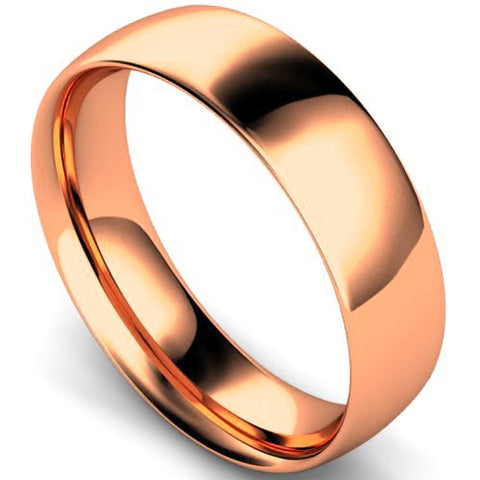 Traditional court profile wedding ring in rose gold, 6mm width