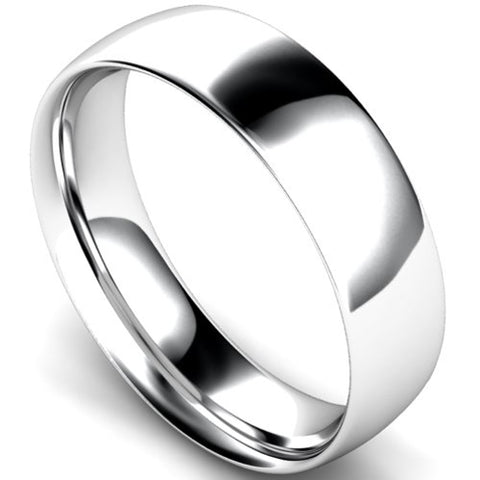 Traditional court profile wedding ring in platinum, 6mm width