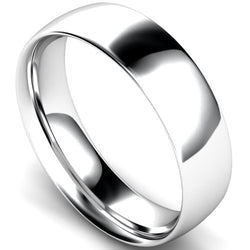 Traditional court profile wedding ring in palladium, 6mm width