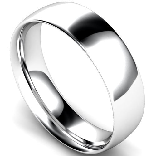 Traditional court profile wedding ring in white gold, 6mm width