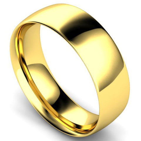 Traditional court profile wedding ring in yellow gold, 7mm width