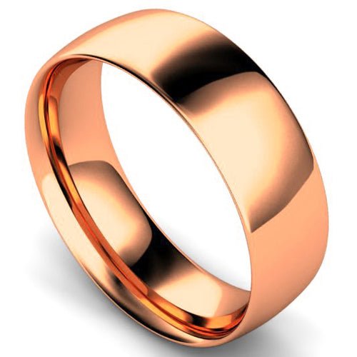 Traditional court profile wedding ring in rose gold, 7mm width