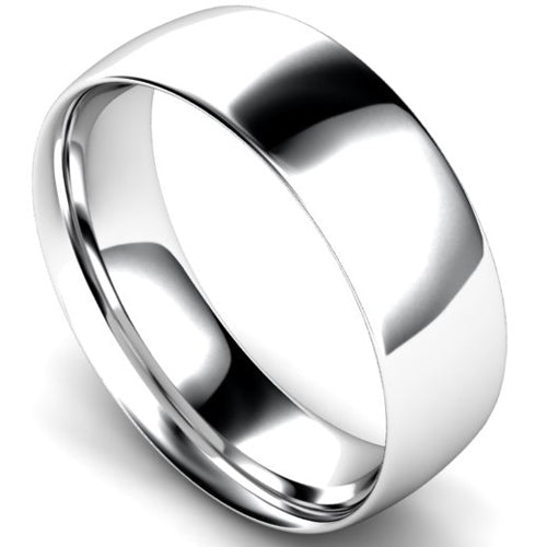 Traditional court profile wedding ring in white gold, 7mm width