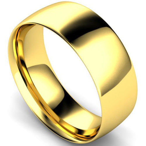 Traditional court profile wedding ring in yellow gold, 8mm width