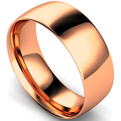 Traditional court profile wedding ring in rose gold, 8mm width