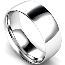 Traditional court profile wedding ring in white gold, 8mm width