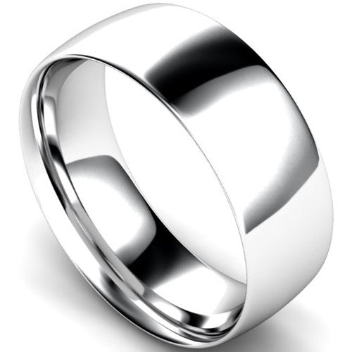 Traditional court profile wedding ring in palladium, 8mm width