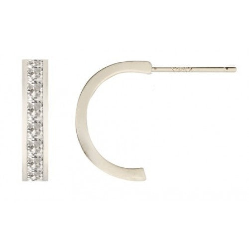 Cubic zirconia half hoop earrings in 9ct white gold