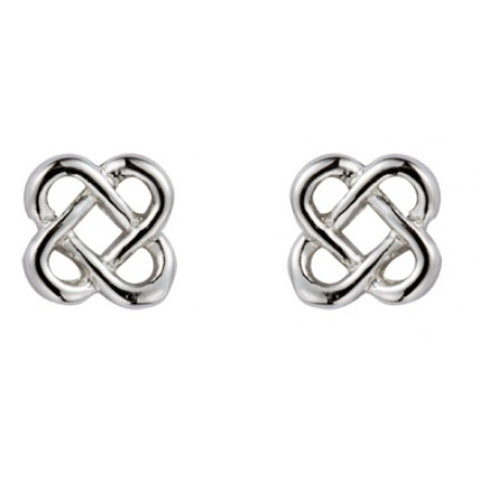 Celtic knot stud earrings in 9ct white gold