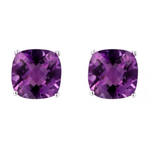 Amethyst cushion shape stud earrings in 9ct white gold
