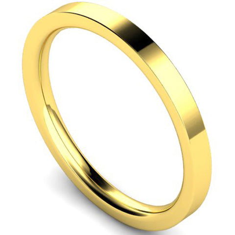 Edged flat court profile wedding ring in yellow gold, 2mm width