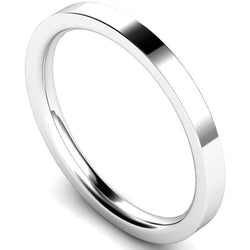 Edged flat court profile wedding ring in platinum, 2mm width