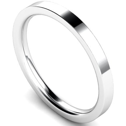 Edged flat court profile wedding ring in white gold, 2mm width
