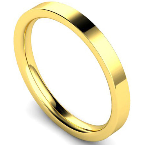 Edged flat court profile wedding ring in yellow gold, 2.5mm width