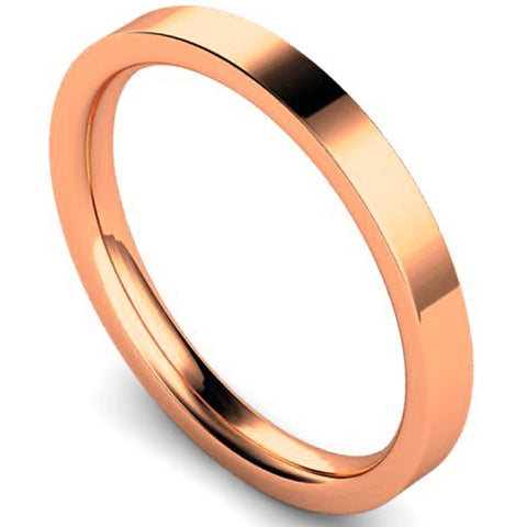 Edged flat court profile wedding ring in rose gold, 2.5mm width
