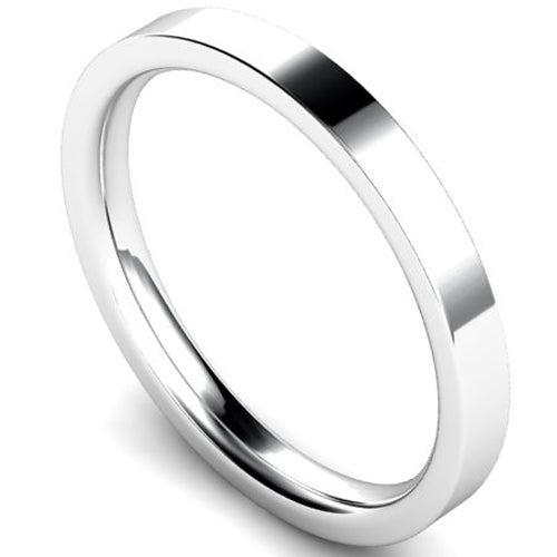 Edged flat court profile wedding ring in platinum, 2.5mm width