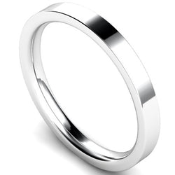 Edged flat court profile wedding ring in white gold. 2.5mm width