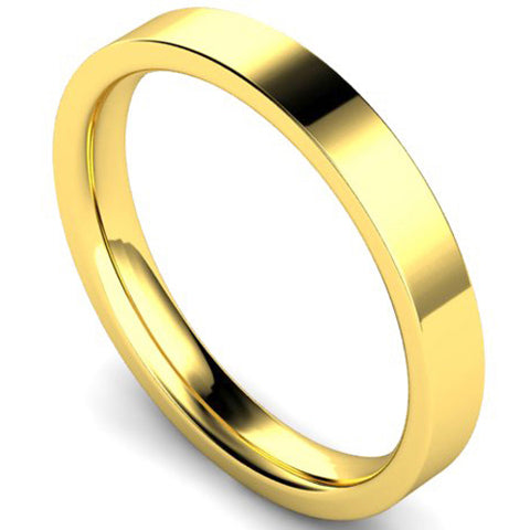 Edged flat court profile wedding ring in yellow gold, 3mm width