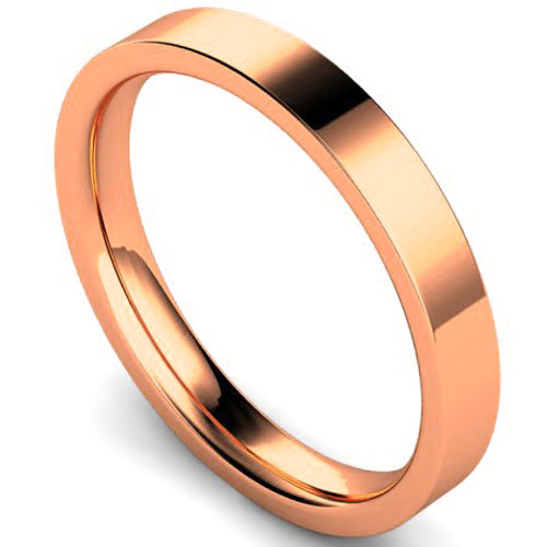 Edged flat court profile wedding ring in rose gold, 3mm width