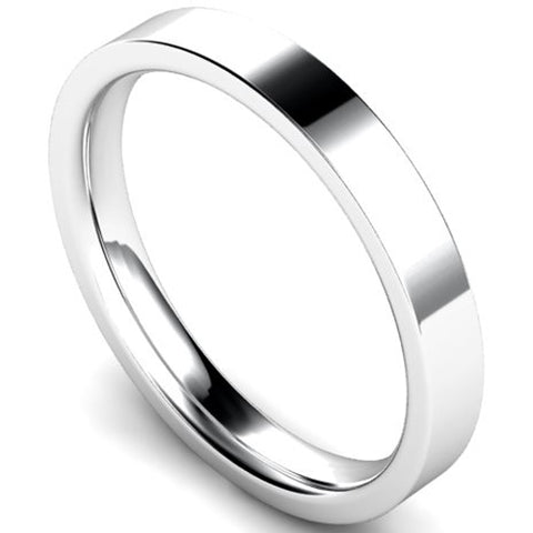 Edged flat court profile wedding ring in white gold, 3mm width
