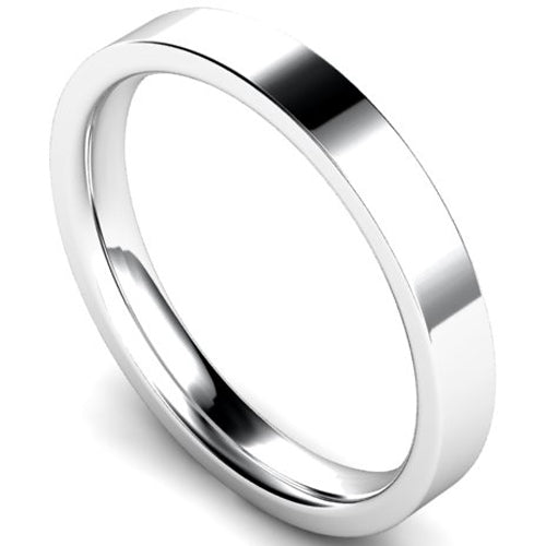 Edged flat court profile wedding ring in platinum, 3mm width