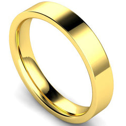 Edged flat court profile wedding ring in yellow gold, 4mm width