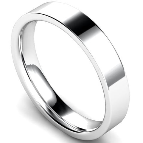 Edged flat court profile wedding ring in palladium, 4mm width