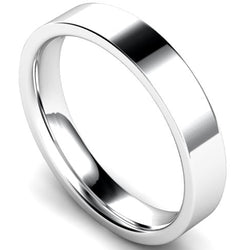 Edged flat court profile wedding ring in white gold, 4mm width
