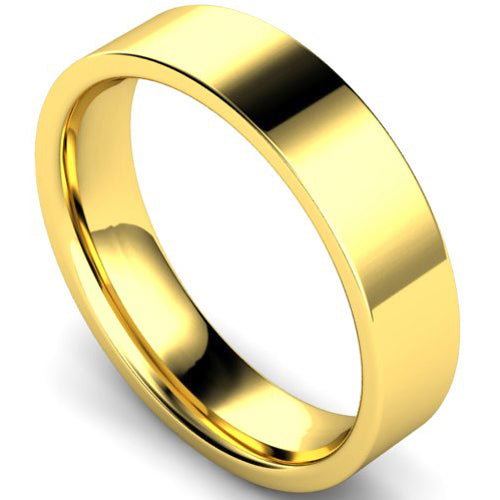 Edged flat court profile wedding ring in yellow gold, 5mm width