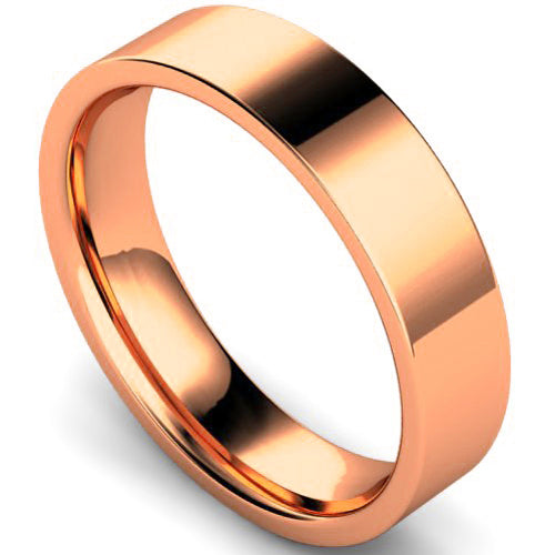 Edged flat court profile wedding ring in rose gold, 5mm width