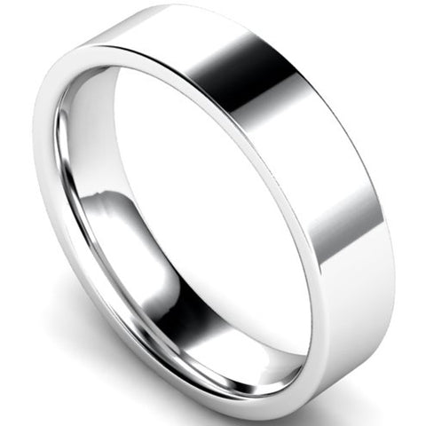 Edged flat court profile wedding ring in platinum, 5mm width