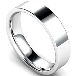 Edged flat court profile wedding ring in palladium, 5mm width