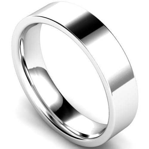 Edged flat court profile wedding ring in white gold, 5mm width