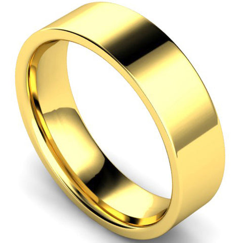 Edged flat court profile wedding ring in yellow gold, 6mm width