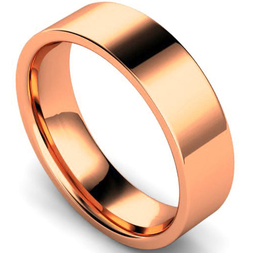 Edged flat court profile wedding ring in rose gold, 6mm width