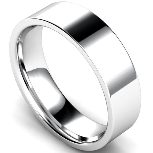 Edged flat court profile wedding ring in white gold, 6mm width