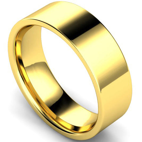 Edged flat court profile wedding ring in yellow gold, 7mm width