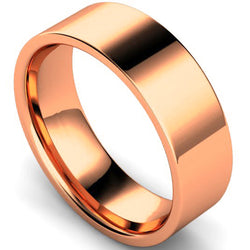 Edged flat court profile wedding ring in rose gold, 7mm width