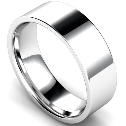 Edged flat court profile wedding ring in white gold, 7mm width