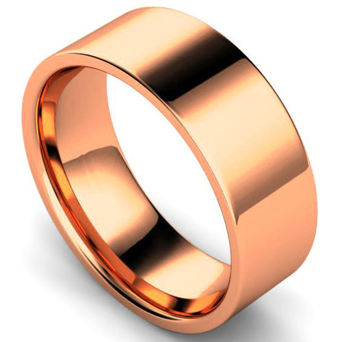 Edged flat court profile wedding ring in rose gold, 8mm width
