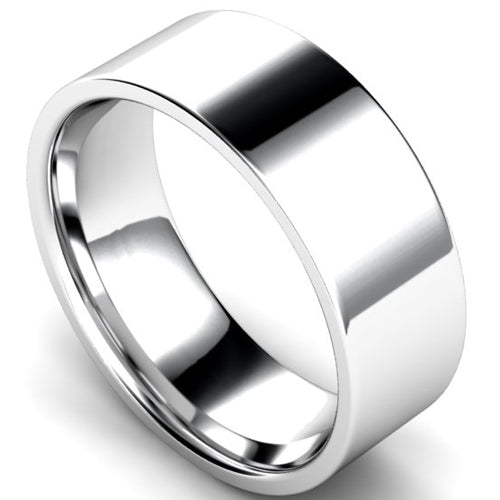 Edged flat court profile wedding ring in white gold, 8mm width