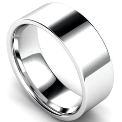Edged flat court profile wedding ring in palladium, 8mm width
